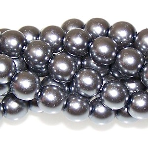 1 Strand of Czech Glass 8mm Pearl Beads - Hematite