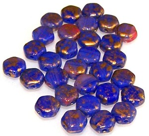 30 Czech Glass 6mm Honeycomb Hex 2-Hole Beads - Hodge Podge Blue Splash