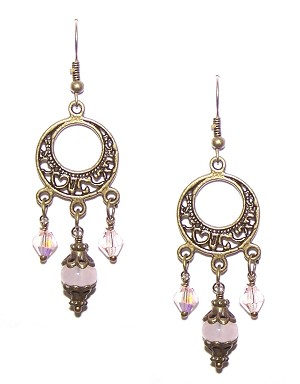 Iridescent Rose Earrings Beaded Jewelry Making Kit