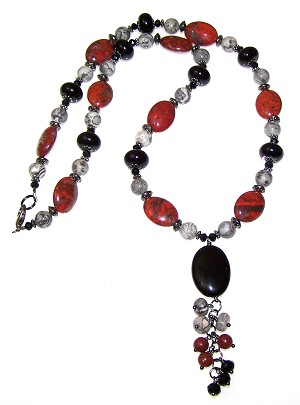 Jasper Embers Necklace Beaded Jewelry Making Kit