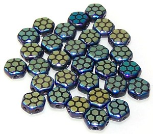 30 Czech Glass 6mm Honeycomb Hex 2-Hole Beads - Jet Laser Core Ab
