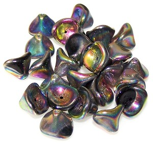 10 Czech Glass 10x12mm 3-Petal Flower Beads - Jet Vitrail Full
