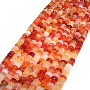 1 Dozen Natural Carnelian 8x5mm Puff Rondelle Semiprecious Gemstone Beads