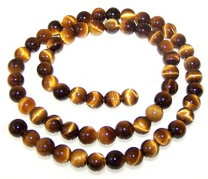 1 Dozen 6mm Round Semiprecious Gemstone Beads - Natural Tiger Eye