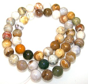 1 Dozen 8mm Round Semiprecious Gemstone Beads - Ocean Jasper
