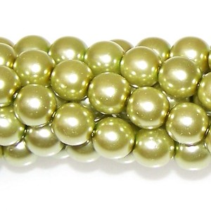 1 Strand of Czech Glass 8mm Pearl Beads - Olivine