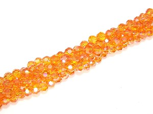 1 Strand of Orange AB 6mm Glass Crystal Rounds
