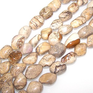 1 Strand of Semiprecious Gemstone Large Nugget Beads - Picture Jasper