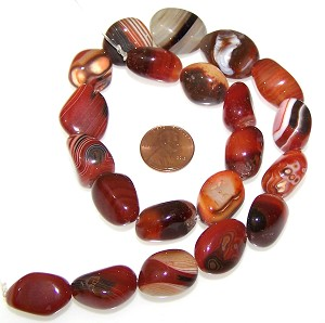 1 Strand of Semiprecious Gemstone Large Nugget Beads - Red Banded Agate