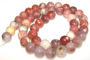 1 Strand of 8mm Round Semiprecious Gemstone Beads - Red Plum Blossom Jasper