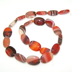 1 Strand of Red Striped Agate 13x18mm Puff Oval Semiprecious Gemstone Beads