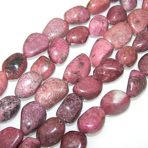 1 Strand of Semiprecious Gemstone Large Nugget Beads - Rhodonite