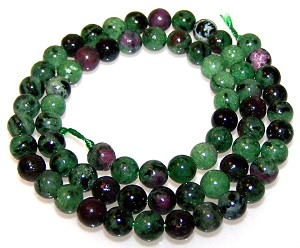 1 Dozen 6mm Round Semiprecious Gemstone Beads - Ruby Zoisite