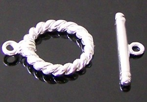 10 Silver-Plated 15mm Thick Rope Toggle Clasps