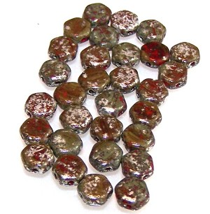 30 Czech Glass 6mm Honeycomb Hex 2-Hole Beads - Silver Splash Red Opaque