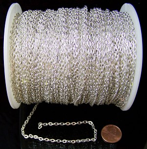 16 Ft (5 meters) of Silver-Plated Cable Chain 4x3mm