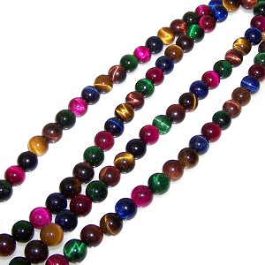 1 Strand of 8mm Round Semiprecious Gemstone Beads - Tiger Eye Multi-Color