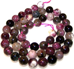 1 Dozen 8mm Round Semiprecious Gemstone Beads - Tourmaline