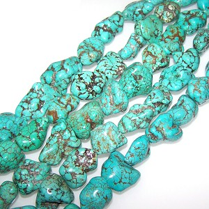1 Strand of Semiprecious Gemstone Large Nugget Beads - Turquoise Colored Howlite