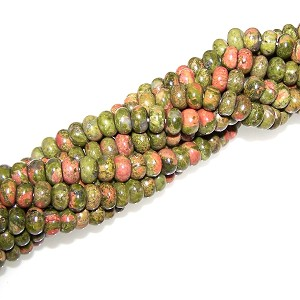 1 Strand of 8x5mm Puff Rondelle Semiprecious Gemstone Beads - Unakite