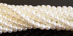 1 Strand of Czech Glass 6mm Pearl Beads - Ivory