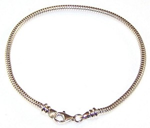 "3mm thick x 8.5"" length Sterling Silver Bracelet Chain"