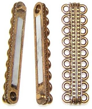 1 Antique Gold-Plated 55x14mm Super Strong 9-Strand Magnetic Clasp