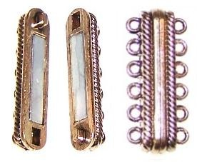 1 Antique Gold-Plated 33x14mm Super Strong 6-Strand Magnetic Clasp