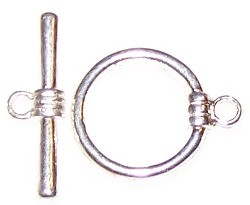 10 Silver-Plated 17mm Smooth Toggle Clasps