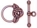 10 Antique Copper 17x19mm Flower Toggle Clasps