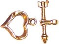 10 Antique Gold-Plated 13x16mm Heart and Arrow Toggle Clasps