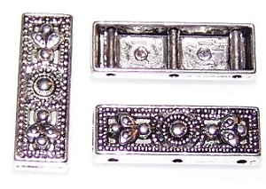 5 Antique Silver-Plated 26x9x4mm Decorative 3-Hole Spacer Bars