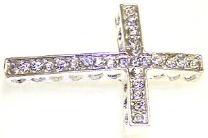 Silver-Plated Rhinestone Curved Cross - 25x36mm