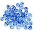 50 Light Sapphire 4mm Glass Crystal Bicones