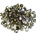 50 Metallic Silver 4mm Glass Crystal Bicones