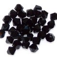 25 Black 6mm Glass Crystal Bicones