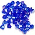25 Cobalt AB 6mm Glass Crystal Bicones