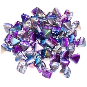 10 Pyramid 6mm Stud Beads - Crystal Magic Blue