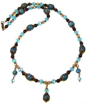 Exotic Blue Necklace Beaded Jewelry Making Kit