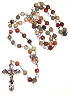 Silver Leaf Agate Beaded Rosary Making Kit