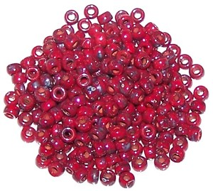 7.5 Grams of Matubo Size 8 Seed Beads - Opaque Coral Red Picasso
