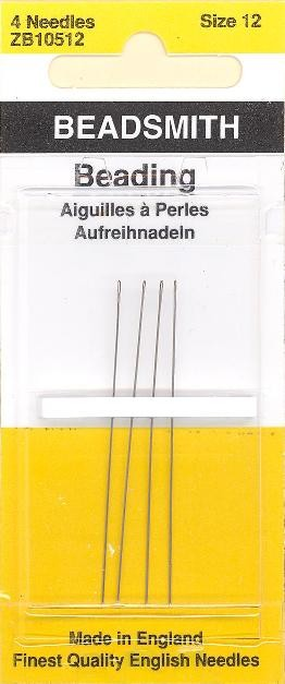 Pack of 4 Beading Needles - Size 12