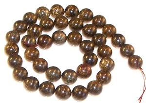 1 Strand of Bronzite 10mm Round Semiprecious Gemstone Beads