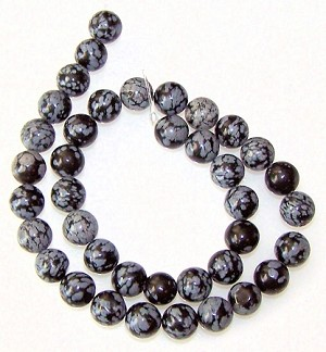 1 Strand of Snowflake Obsidian 10mm Round Semiprecious Gemstone Beads