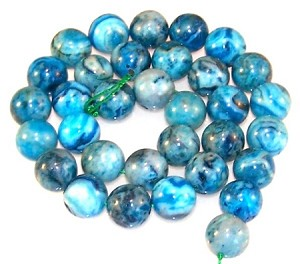 1 Strand of Blue Crazy Lace Agate 12mm Round Semiprecious Gemstone Beads