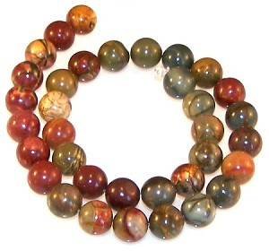 1 Strand of New Picasso Jasper 12mm Round Semiprecious Gemstone Beads