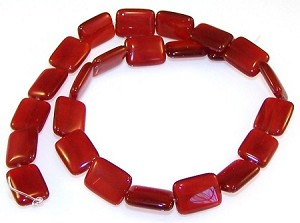 1 Strand of 12x16mm Puff Rectangle Semiprecious Gemstone Beads - Red Carnelian
