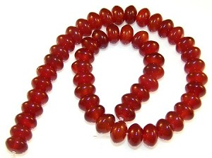 1 Strand of Carnelian 12x8mm Puff Rondelle Semiprecious Gemstone Beads