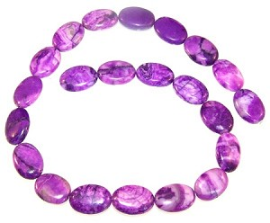 1 Strand of 13x18mm Puff Oval Semiprecious Gemstone Beads - Purple Crazy Lace Agate