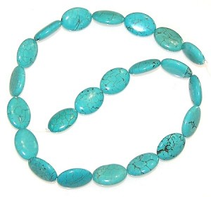 6 - 13x18mm Puff Oval Semiprecious Gemstone Beads - Turquoise Colored Howlite